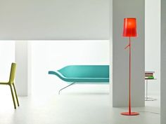 BIRDIE Floor Lamp. Modern floor lamp collection with a minimalist design inspired by a branch from a tree. Featuring a die cast zinc alloy base and steel rod, both liquid coated, opaline polycarbonate internal diffuser and translucent polycarbonate external diffuser.