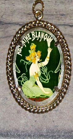 Absinthe Green Fairy Framed Pendant