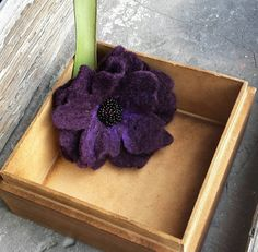 Purple plum hand felted flower brooch