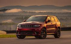 Download wallpapers Jeep Grand Cherokee Trackhawk, SUVs, 2018 cars, sunset, new Grand Cherokee, Jeep