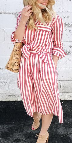 #spring #fashion Red Striped Dress