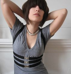 Elastic Harness -  Black with Gold OR Silver buckles - S/M. $49.00, via Etsy.