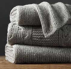 Italian Wool & Alpaca Knit Throw - Fog: Restoration Hardware (bed throw)