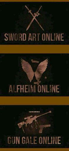 Sword Art Online, Alfheim Online, Gun Gale Online, text, logos; Sword Art Online/Gun Gale Online