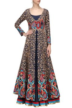 IBFW presents Midnight blue embroidered jacket with anarkali set available only at Pernia's Pop Up Shop. Ethnic Fashion, Indian Fashion, Indian Dresses, Indian Outfits, Anarkali Gown, Saree, Designer Anarkali Dresses, Hippy Chic, Indian Party Wear