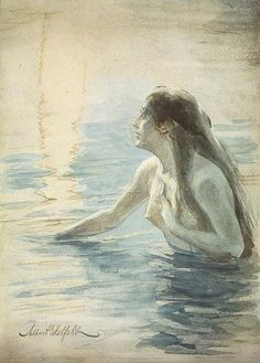 RUSALKA - Female water Spirit. These souls of unbabtized babies or drowned maidens became beautiful pale girls with long flowing hair. They wear white or are sometimes naked, usually with poppies in their hair. They lived in the waters during the winter, but moved to the forests and fields during Rusal'naia week (hence the name) where they could often be seen perched in trees. #Mythology, #Slavic