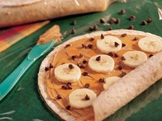 Great idea for camping - Peanut Butter and Banana Wraps - can be eaten for lunch, as a snack dessert or even breakfast!