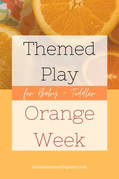 This week with my almost 2-year-old we focused on the color orange. Visit the blog for details and inspiration for orange activities, crafts, books, and sensory bins! #ColorOrange #ToddlerPlay #BabyPlay #OrangeToddlerActivities #TeachingToddlersColors