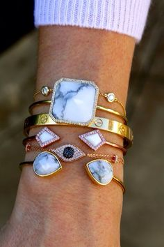 Who doesn't love a gorgeous arm party? We love the mix of natural stones and sparkly rhinestones! Who doesn't love a gorgeous arm party? We love the mix of natural stones and sparkly rhinestones! Jewelry Box, Jewelry Accessories, Fashion Accessories, Fashion Jewelry, Gold Jewelry, Jewlery, Gold Bangles, Bullet Jewelry, Jewelry Stand