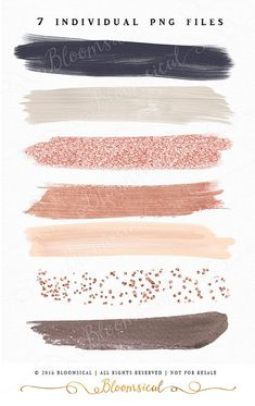 A chic collection of 7 hand painted modern brush strokes in nude earthy natural and gold colors. Overlay the confetti glitter stroke on other colored brush strokes to create interesting designs! The clip art set is perfect for fashion blogs, websites buttons, invites, packaging, party