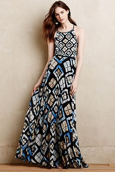 Marisol Maxi Dress #anthropologie I love maxi dresses, partly because my legs aren't my favorite feature. I like that this one has a higher neckline and a really fun pattern. Love the colors.