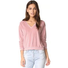 AMO Deep Sweatshirt (2.404.925 IDR) ❤ liked on Polyvore featuring tops, hoodies, sweatshirts, vintage rose, long sleeve tops, deep v neck top, vintage tops, low v neck tops and velour top