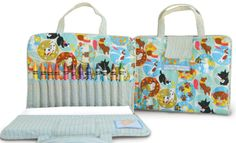 Velcro Secured Fold N Stow Art Folio Crayon Keeper - Pollywally Doodle