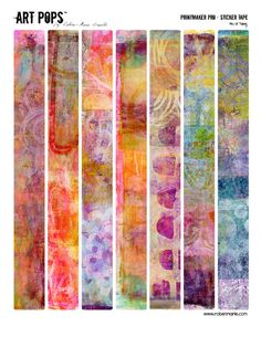 "ART POPS™ (Gelli printed) Sticker Tape - Printmaker Pro Collection by Roben-Marie!   ""Each sticker is approximately .9375"" x 9.0625"" with seven different images created using my own Gelli® Arts prints."""