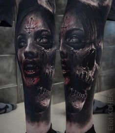 Unglaublich realistisches Tattoo mit atemberaubenden Effekten durch den Einsa… Incredibly realistic tattoo with stunning effects through the use of contrasts – Fusion Ink killer Evil Tattoos, Creepy Tattoos, 3d Tattoos, Badass Tattoos, Skull Tattoos, Body Art Tattoos, Tattoos For Guys, Sleeve Tattoos, Dark Tattoos For Men
