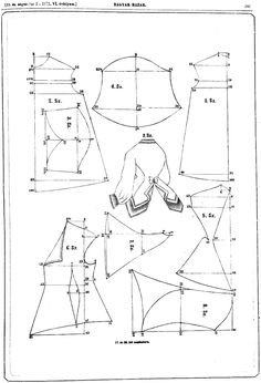 Blúz és derék and bodice 1871 :: Welcome to the plastic age! Doll Sewing Patterns, Costume Patterns, Vintage Sewing Patterns, Sewing Tutorials, Clothing Patterns, Dress Patterns, Pattern Cutting, Pattern Making, Victorian Pattern