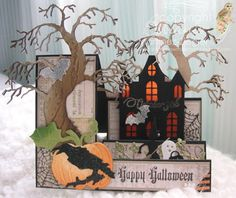 Stamping with Bibiana: Halloween Side Step Card using various dies and stamps