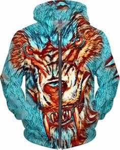 NBK Demon Wolf Custom Fable Rave Fantasy Style Zip Hoodie by Willy Badu.