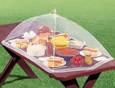Picnic Table Food Tent contemporary food containers and storage. i have little ones but I like the idea of a table sized cover Outdoor Food, Outdoor Camping, Outdoor Life, Camping Ideas, Camping Hacks, Outdoor Living, Picnic Ideas, Outdoor Events, Food Tent