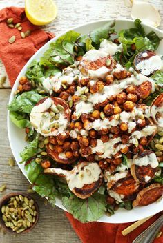Roasted Sweet Potato Crispy Chickpea Salad with a 3-ingredient Creamy Tahini Dressing!