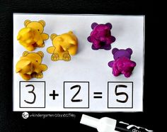 Make learning addition fun with these free counting bear addition cards. Practice one to one correspondence and writing equations in a hands-on way! Bears Preschool, Preschool Activities, Pre K Activities, Classroom Activities, Counting Bears, Preschool Art Projects, Kindergarten Readiness, Math Centers, Beer