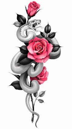 Mago Tattoo, Tattoo Femeninos, Tattoo Now, Leg Tattoo Men, Tattoo Drawings, Rose Tattoos, Flower Tattoos, Fingerprint Tattoos, Japanese Snake Tattoo