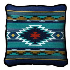 Amazon.com - Pure Country Weavers Southwest Geometric Cornflower Pillow 6637-P 17 inches wide by 17 inches long, 100% cotton - Throw Pillows