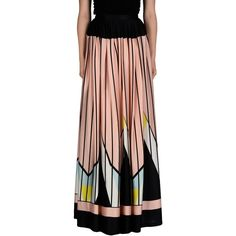 Daniele Carlotta Long Skirt ($650) ❤ liked on Polyvore featuring skirts, pink, pleated skirt, pleated maxi skirt, long pink skirt, long pleated skirt and striped skirt