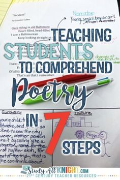 Teaching students to understand poetry does NOT need to be a challenge. Click through to see the seven steps that break it down and make it manageable. These seven steps will work great for your and grade classroom or homeschool students. Middle School Writing, Middle School English, Middle School Classroom, English Classroom, 7th Grade Classroom, 10th Grade English, Middle School Literature, Ap English, English Lessons