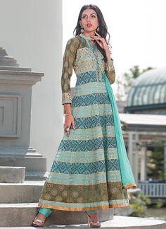 Blue Cotton Silk Anarkali Suit