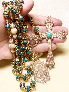 Turquoise Rosary Bronze Unbreakable Wire wrap by HeartFeltRosaries