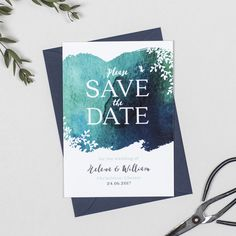 navy and teal watercolour botanical wedding save the date cards by Project Pretty