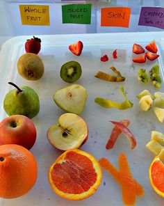 Fruits sensory experience - sight, taste, smell, touch for Nutrition unit. 5 Senses Activities, Sensory Activities, Preschool Activities, Preschool Science, Preschool Crafts, Bug Crafts, Fruit And Veg, Fruits And Veggies, Fresh Fruit
