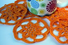 Crochet coaster Set of 6 Yellow Orange Placemat by lindapaula, €15.00