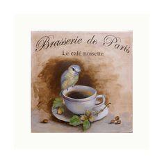 """ORIGINAL PAINTING -"""" Brasserie de Paris -Café Noisette """" - Paris sign, coffee cup , bird, hazelnut, Romantic Paris. by Hélène Flont"""