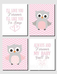 Pink and Gray Nursery Art, Owl Wall Art, Baby Girl Nursery Decor, I'll Love You Forever, Baby Girl, Baby Room, Set of 4, Prints or Canvas by vtdesigns on Etsy