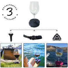 Outdoor Portable Wine Glass Holder by Bella D'Vine - 3 Attachments include Lawn Wine Stake For Picnics, Base For Boats and Hot Tubs, Strap For Patio Chairs - Wine Accessory Gift For Her - Purple Portable Wine Glass, Wine Gifts For Her, Patio Chairs, Patio Bench, Office Chairs, Wine Glass Holder, Wine Case, Boat Stuff, Hot Tubs