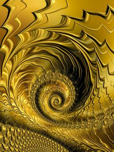 Golden spirals - Abstract art based on a fractal, glossy and shiny gold colored spiral with lines / waves, interesting decorative design for your home or office walls. Available as poster, framed fine art print, metal, acrylic or canvas print. (c) Matthias Hauser hauserfoto.com
