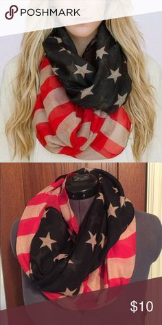 """American Flag Loop Scarf Originally purchased from Three Bird Nest. Bohemian American Flag Infinity Scarf. Vintage washed lightweight loop scarf for women! What better accessories for July 4th than your American Flag Loop Scarf!  Red white and blue patriotic pride in our best selling infinity loop scarf!  100% Viscose. Dimension 58"""" x 35"""" Three Bird Nest Accessories Scarves & Wraps"""