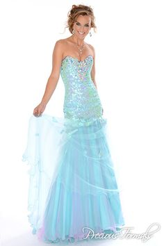 Precious Formals Style P10551 Gorgeous strapless sweetheart mermaid with crystal sequins bodice and layered illusion skirt . Skirt has sequined applique too!!!!