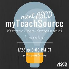 ASCD myTeachSource is an online professional learning platform organized around classroom-focused topic packs designed to help teachers find quick solutions to issues that interest them. This teacher-driven digital subscription delivers monthly topic packs on popular instructional practices designed for easy use—straight from the Web to the classroom. Join ASCD publisher Stefani Roth in an engaging webinar that will take you on a tour of the new platform.
