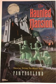 Tokyo Disneyland poster for their Haunted Mansion, which is nearly identical inside and out to the one in WDW- except that it's location is FANTASYLAND! The HM is the only Disney attn to appear in a different land in every park! Vintage Disney Posters, Vintage Disneyland, Tokyo Disneyland, Disneyland Sign, Disneyland Birthday, Disneyland Photos, Vintage Mickey, Disney Theme, Disney Love