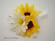 Sunflower Daisy Wrist or Pin Corsage Fall by FlowersForThought