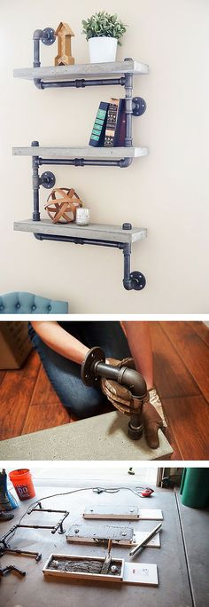 Concrete and galvanized pipe add an industrial chic look to a room. This DIY…