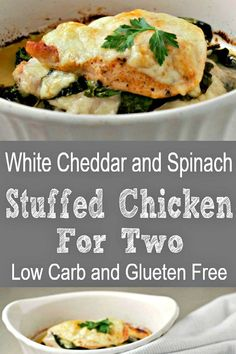 White Cheddar and Spinach Stuffed Chicken is so quick and easy to make. I love the flavors of the gooey cheddar, spinach, and garlic stuffed inside tender, juicy chicken. This chicken dish is Low-Carb and Gluten Free. #WhiteCheddar #LunchForTwo #DinnerForTwo #StuffedChicken #RecipesForTwo #spinach via @ZonaCooks