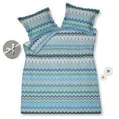 Dekbedovertrek Knitted Stripe Ocean blue VAN DIJCK