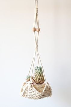 "Amazon.com: Macrame Plant Hanger Handmade Cotton Rope Wall Hangings Home Decor,30""L: Home & Kitchen"