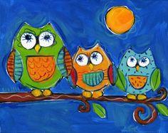 owl scene. big medium small