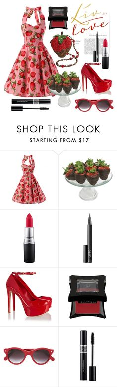 """Sweet Strawberries!"" by pixidreams ❤ liked on Polyvore featuring Mary Frances Accessories, Golden Edibles, MAC Cosmetics, NARS Cosmetics, Schutz, Illamasqua, Cutler and Gross and Christian Dior"