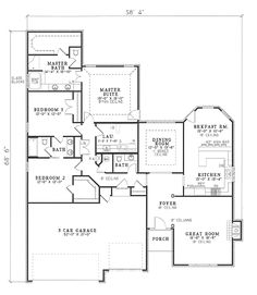 First Floor Plan of Traditional   House Plan 61157